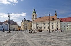 Main square historical architecture in Sibiu. Main square historical arhitecture in Sibiu Transylvania Romania catholical church public lantern and Brukenthal Royalty Free Stock Photos