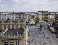 Main Square - historical center of Krakow. View of the Main Square - historical center of Krakow. Part near the Grodzka street. View from the top Stock Photography