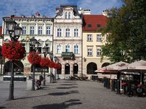Main square in historical city center of Bielsko-Biala in Poland. BIELSKO-BIALA, POLAND EUROPE on AUGUST 2017: Main square in historical city center with Royalty Free Stock Photos