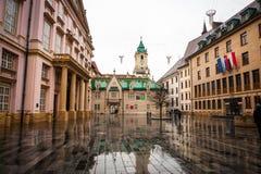 Main Square, Hlavne Namestie in Bratislava, Slovakia. Main square of Bratislava, Hlavne namestie, captial of Slovakia Royalty Free Stock Photos
