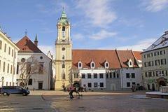 Main Square (Hlavne Namestie) in Old Town in Bratislava, Slovaki. BRATISLAVA, SLOVAKIA - FEBRUARY 3, 2015: Tourists and locals on Main Square (Hlavne Namestie) Stock Image