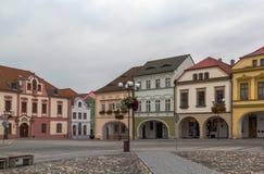 Main square in Kadan, Czech republic. Historic houses on main square in Kadan, Czech republic royalty free stock image