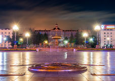 The main square of Khabarovsk - Lenin Square at night - in the f Stock Photo