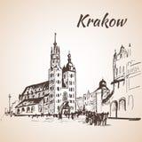 Main Square, Krakow, Poland. Sketch. On white background Stock Photo
