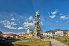 Main square at Kremnica town royalty free stock photo