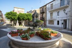 Main square of Lascari, Sicily, Italy. Fountain on the main square of Lascari, Sicily, Italy Royalty Free Stock Photography