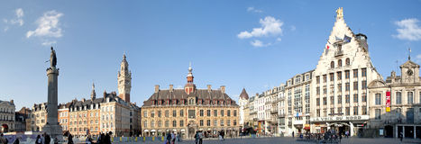 Main square of Lille, France. Panoramic view of Main square of Lille, France royalty free stock photography