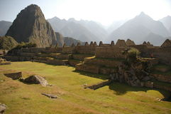 Main square from Machu Picchu. Main square and Huayna Picchu from Machu Picchu ruins in Peru Stock Images