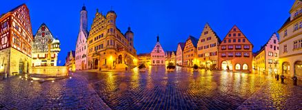 Free Main Square Marktplatz Or Market Square Of Medieval German Town Of Rothenburg Ob Der Tauber Evening Panoramic View Royalty Free Stock Images - 161271139