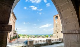 Main square and medieval buildings in Castelvetro di Modena, Italy royalty free stock images