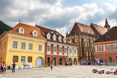 The main square of the medieval city of Brasov, main touristic city of Transylvania, Romania. Royalty Free Stock Images