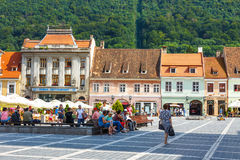 The main square of the medieval city of Brasov, main touristic city of Transylvania, Romania. Royalty Free Stock Photos