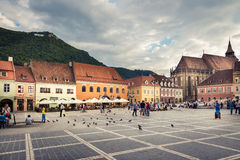 The main square of the medieval city of Brasov, Romania. October 10nd, 2015. Stock Photos