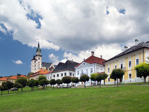 Main square in medieval Kremnica town Royalty Free Stock Photography