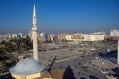 Main square with minaret, Tirana, Albania. The main square with the mosque in Tirana royalty free stock image