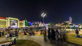 Main square near Entrance to Global Village with crowd timelapse in Dubai, UAE stock video footage