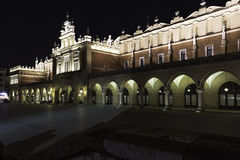 Main square at night. Sukiennice, Cloth Hall, in the centre of town Krakow Poland at night Royalty Free Stock Images