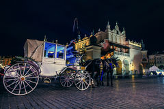 Main square old city of Krakow in  night time Stock Images