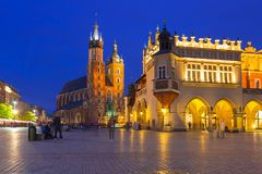 The main square of the Old Town in Krakow at dusk Royalty Free Stock Photography