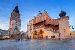 The main square of the Old Town in Krakow Royalty Free Stock Image