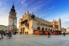 The main square of the Old Town in Krakow Stock Images