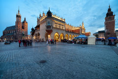 Main Square in the Old Town of Krakow in Poland at Dusk Stock Photography