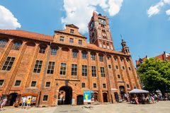 Main square in old town of Torun. Torun is birthplace of the astronomer Nicolaus Copernicus. Torun, Poland - June 01, 2018: Main square in old town of Torun Stock Photo