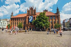 Main square in old town of Torun. Torun is birthplace of the astronomer Nicolaus Copernicus. Torun, Poland - June 01, 2018: Main square in old town of Torun Royalty Free Stock Images