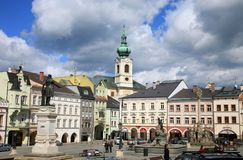 Old Town in Turnov, Czech Republic, Czechia. Main square in Old Town in Trutnov, small town, Czechia, Czech Republic Stock Images