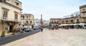 Main square in Ostuni, Italy Stock Photos