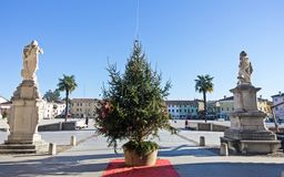 Main square of Palmanova. The main square of Palmanova seen from via Udine on Christmas time Royalty Free Stock Image