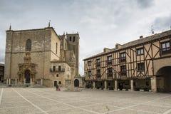 Main Square of Penaranda de Duero, Burgos Spain. Penaranda de Duero, Burgos, Spain  April 2015: Main Square of Penaranda de Duero with its typical half-timbered Royalty Free Stock Image