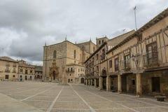 Main Square of Penaranda de Duero in province of Burgos, Spain. Penaranda de Duero, Burgos, Spain  April 2015: Main Square of Penaranda de Duero with its typical Royalty Free Stock Photography
