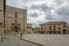 Main Square of Penaranda de Duero in province of Burgos, Spain. Penaranda de Duero, Burgos, Spain  April 2015: Main Square of Penaranda de Duero with its typical Royalty Free Stock Image
