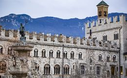 Fountain of Neptune in the city of Trento. Main square Piazza Duomo, with clock tower and the Late Baroque Fountain of Neptune. City in Trento Italy Royalty Free Stock Photography