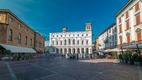 Main square piazza Vecchia in an Italian town Bergamo timelapse. Library and historic buildings. Main square piazza Vecchia in an Italian town Bergamo timelapse stock video