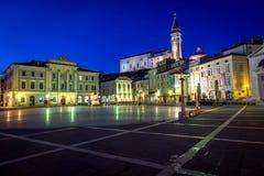 Main square of Piran town Stock Photos