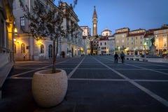 Main square of Piran town Royalty Free Stock Image