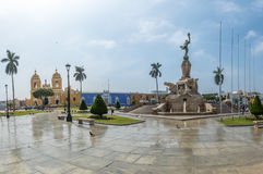 Main Square & x28;Plaza de Armas& x29; and Cathedral - Trujillo, Peru. Main Square & x28;Plaza de Armas& x29; and Cathedral in Trujillo, Peru Stock Photography