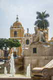 Main Square & x28;Plaza de Armas& x29; and Cathedral - Trujillo, Peru. Main Square & x28;Plaza de Armas& x29; and Cathedral in Trujillo, Peru Royalty Free Stock Image