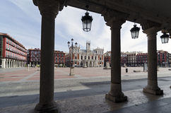 Main Square. The Plaza Mayor and the city hall of Valladolid, Spain Royalty Free Stock Image