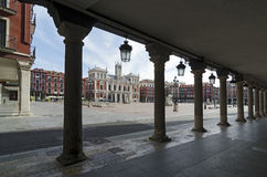 Main Square. The Plaza Mayor and the city hall of Valladolid, Spain Stock Photography