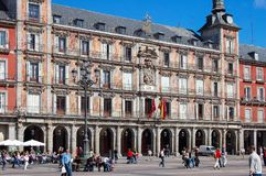 Plaza Mayor - Madrid. The Main Square (Plaza Mayor), a grand arcaded square in the center of the city, is very popular with tourists and locals alike Royalty Free Stock Image