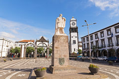 Main square of Ponta Delgada with statue of Gonzalo Velho Cabral in Azores. Stock Images