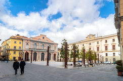 Main square in Potenza, Italy. POTENZA, ITALY - MARCH 13, 2015: day view of Mario Pagano square with local people in Potenza, Italy. Potenza is the highest Royalty Free Stock Photography