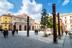 Main square in Potenza, Italy. POTENZA, ITALY - MARCH 13, 2015: day view of Mario Pagano square with local people in Potenza, Italy. Potenza is the highest stock images