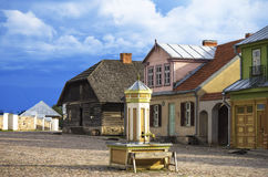Main square of reconstructed old lithuanian city, The Open-Air Museum of Lithuania, Rumsiskes, Royalty Free Stock Image