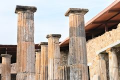 Main square with ruins of columns in ancient city Pompeii Royalty Free Stock Images