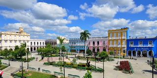Main square Sancti Spirytus on Cuba. stock image