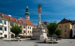 Main square in Sopron. The Main square in the old town of Sopron, important town in the western Transdanubia of Hungary Stock Image